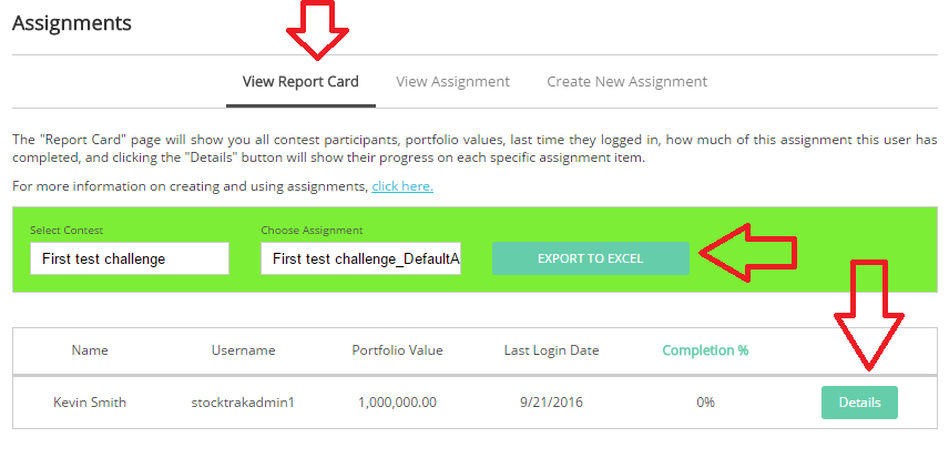 assignment report card